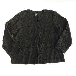 Elieen Fisher Black 100% Silk LS Cardigan Jacket